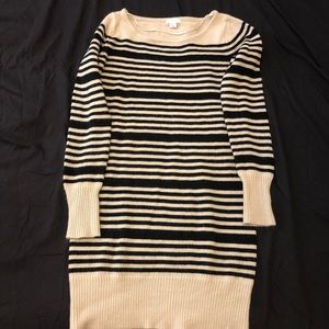 Cream and black striped sweater dress